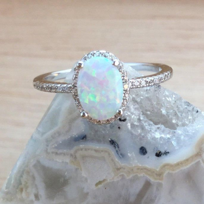 Sterling Silver Opal Ring with Halo FREE Gift Box & FREE