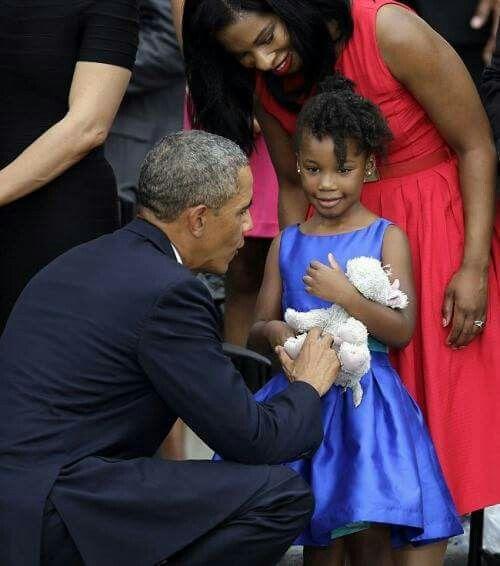 President Barack Obama meets Dr Martin Luther King granddaughter.