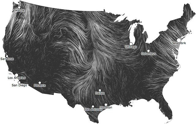 a map of wind over the united states