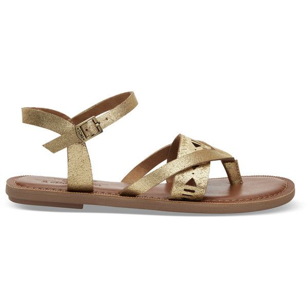 TOMS Gold Metallic Suede Women's Lexie Sandals (€75) ❤ liked on Polyvore featuring shoes, sandals, gold metallic, metallic shoes, metallic gold shoes, ankle strap sandals, ankle strap gladiator sandals and ankle tie sandals
