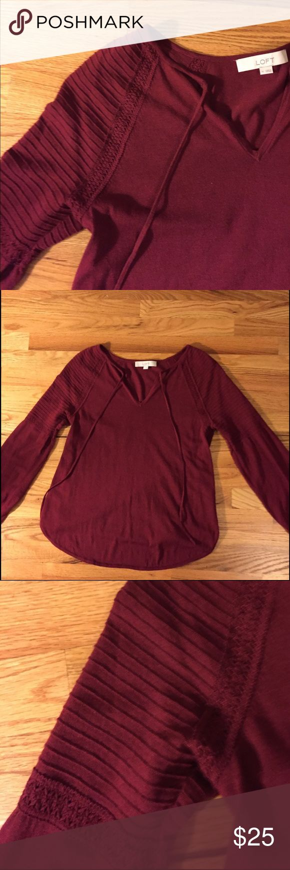 Loft Lantern Sleeve Sweater Light weight lantern sleeve sweater from the Loft in rich burgundy color. Great to wear alone or to layer with! Very bohemian feel, but with structure! Bought this fall took the tags off and never wore so it's practically brand new. Sweater is in excellent condition and ready for a new closet 😊 LOFT Sweaters