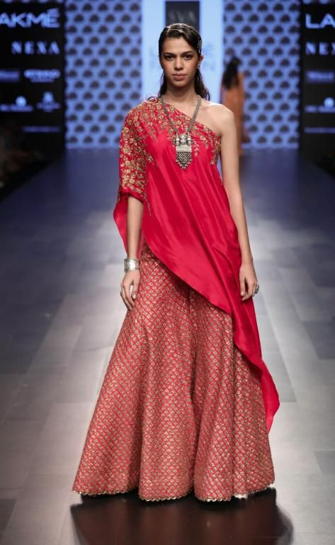 One shoulder red lehenga by SVA Couture #Frugal2Fab