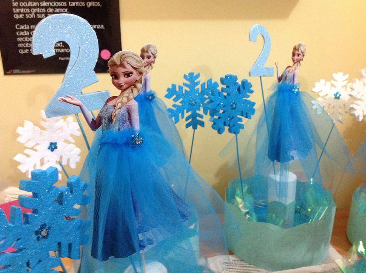 Centro de Mesa al estilo Frozen