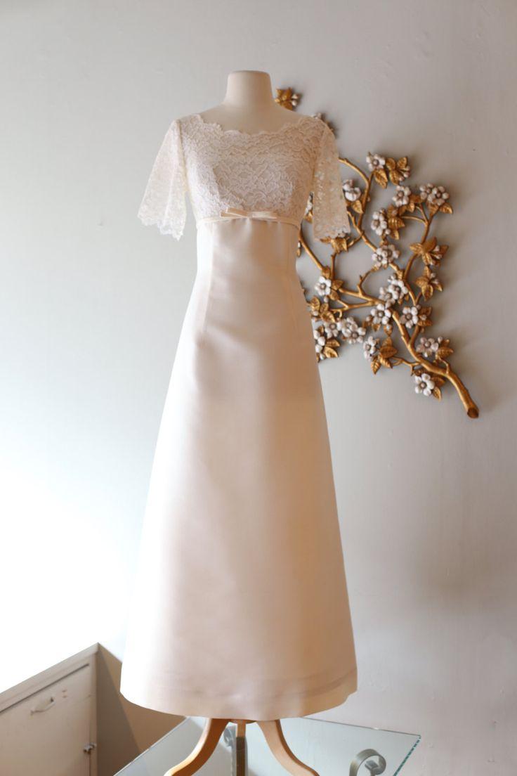 Vintage 1960 39 s illusion lace wedding dress vintage 60s for Ivory empire waist wedding dress
