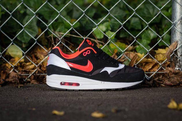 Trendy Women's Sneakers :   Nike WMNS Air Max 1 – Black / Laser Crimson   White    - #Women'sshoes