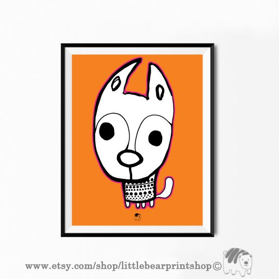 Cute Dog in Orange Background Print, Big Poster, Digital Download. Size A2 Digital Download 8.68€. Printable artwork is a beautiful, quick and cost effective way of updating your art. Available on Etsy. ❤️