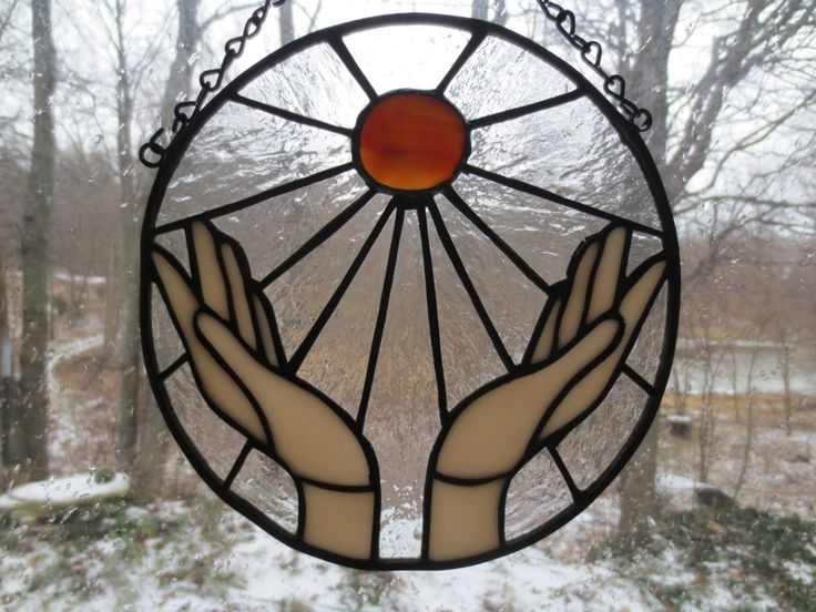 Energy Ball Reiki Wicca Pagan Witchy Stained Glass Suncatcher by PerizadCreations on Etsy