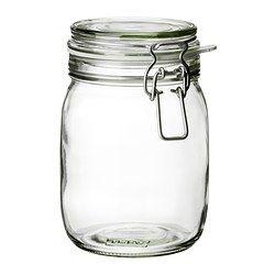 KORKEN Jar with lid - IKEA. Flour & sugars. $3.49 for 34oz, $4.49 for 2 quarts. Rubber sealer sold separately.