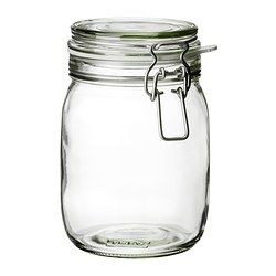 KORKEN Jar with lid - IKEA. Flour & sugars. $3.49 for 34oz, $4.49 for 2 quarts. Rubber sealer sold separately.