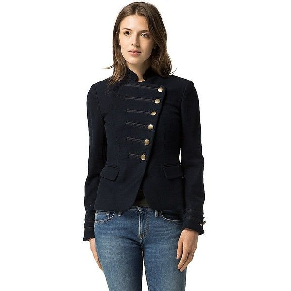 Tommy Hilfiger Bandoliere Jacket featuring polyvore women's fashion clothing outerwear jackets military jacket tommy hilfiger stand collar jacket army jackets stand up collar jacket