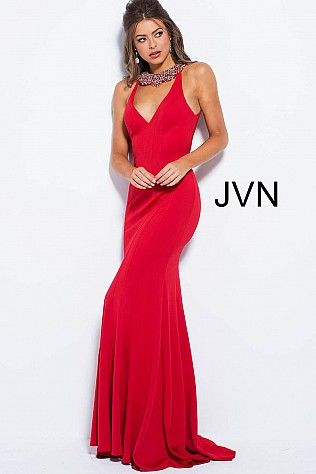 3db5f942573d Red Crystal Embellished Neck Open Back Prom Dress JVN53349 in 2019 ...