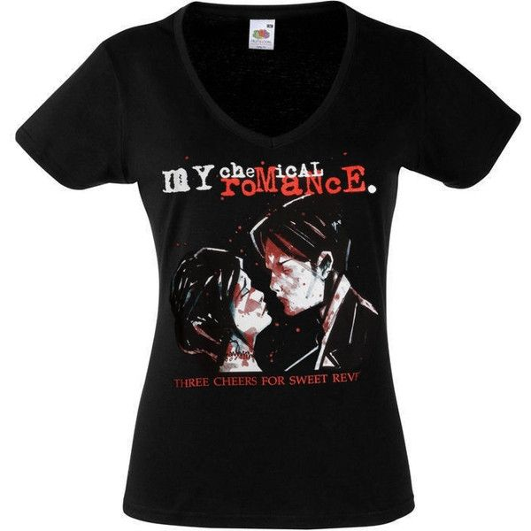 My Chemical Romance Band 3 Alternative Rock Emo Tee Shirt Pop Punk Emo... ($14) ❤ liked on Polyvore featuring tops, t-shirts, shirts, band merch, my chemical romance, screen print shirts, v-neck tee, print shirts, pattern t shirt and punk rock t shirts