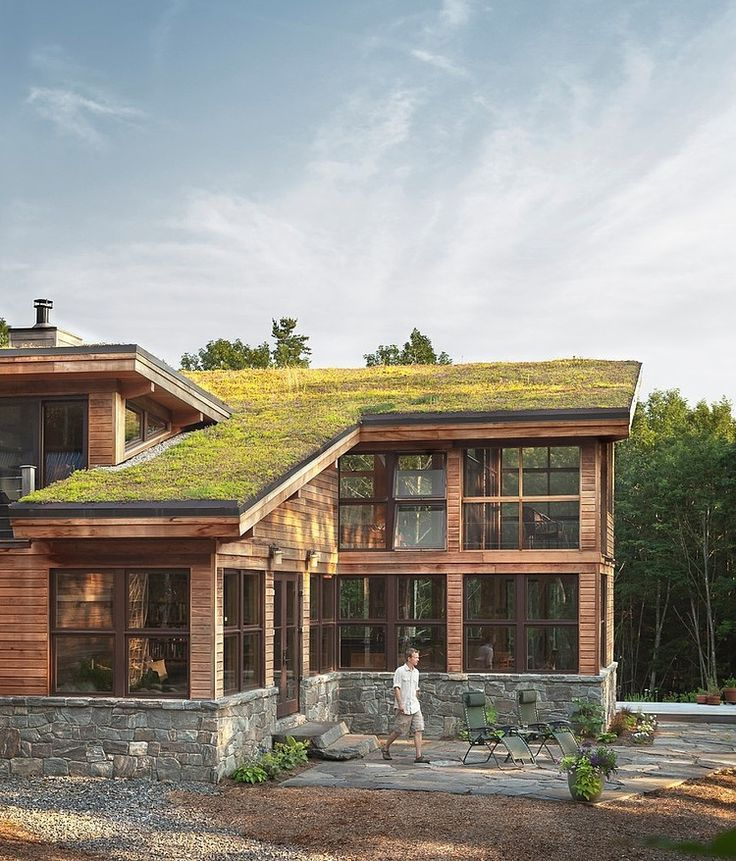 Warm sustainable home using many natural materials expressed in modern ways located in bremen maine