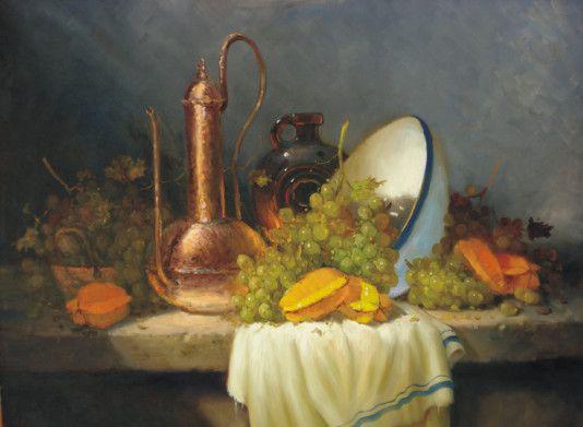 Natureza morta com carambolas Monteiro Prestes (Brasil, contemporâneo) óleo sobre tela, 60 x 90 cm