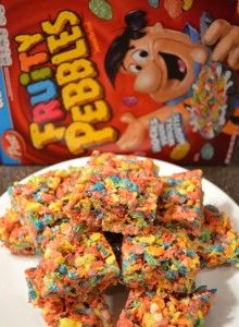 Fruity Pebbles Marshmallow Treats The kids LOVE these!!