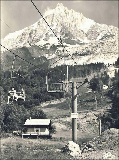 Glacier des Bossons à Chamonix 1960 Premier Télésiège Biplace Poma