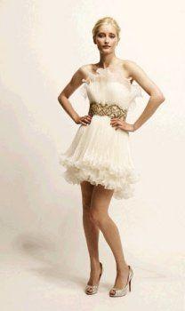 Elfenbein trägerlosen moderne Mini Baby Doll kurze Brautkleider