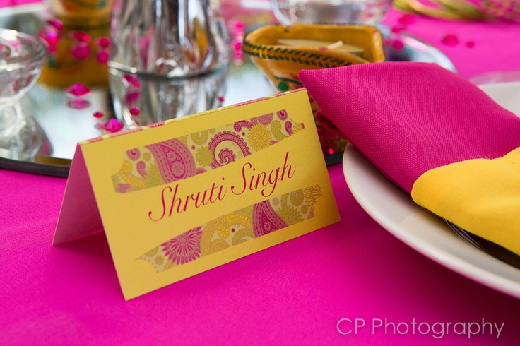 Bombay Mix from Fuschia's Asian Dreams wedding and celebration collection. Personalised place card to match your wedding table by www.fuschiadesigs.co.uk