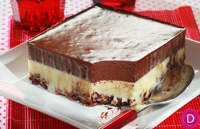 Γλύκισμα ψυγείου με δημητριακά και διπλή κρέμα σοκολάτας