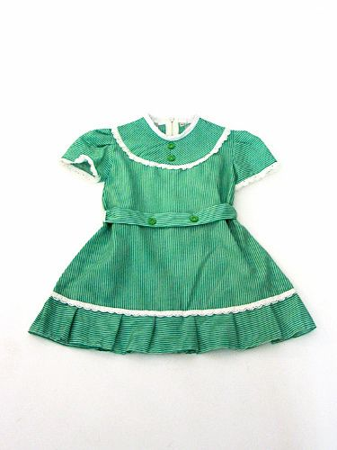 Vintage green & white girls dress : products - Petite Boutique