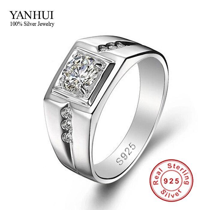 Grote Promotie! fijne Sieraden Mannen Ring 925 Sterling Zilveren Trouwringen voor Mannen 0.5 Karaat CZ Diamant Mannen Verlovingsring JZR056
