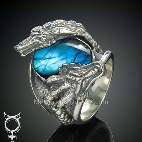 These are the colors Pietas prefers - silver and teal. Sterling Silver Dragon Ring by MercuriousDesigns