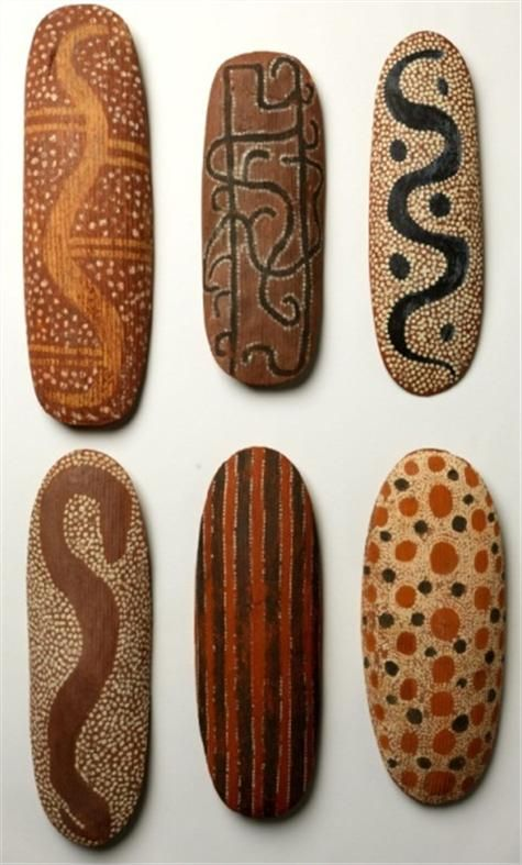 Group of decorated shields from Central Australia - love to paint these designs on rocks!!