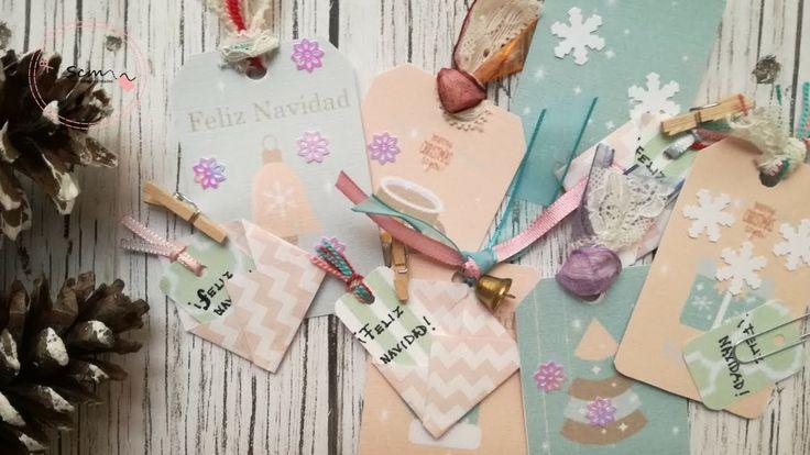 Manualidades para Navidad: Como decorar etiquetas para regalar en Navida...
