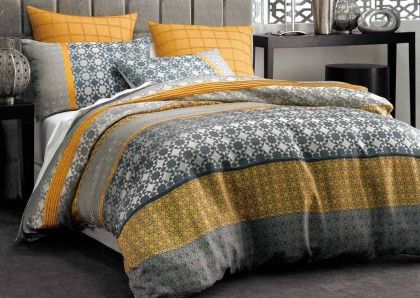 Deco Stafford Quilt Cover Set. This smart jacquard weave fabric features a decorative geometric tile design woven in silver, charcoal and gold with added pintuck detailing. Reverses to plain grey.