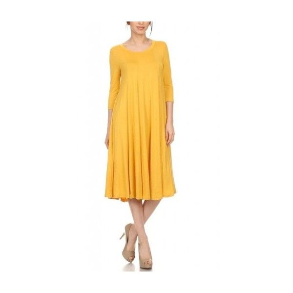 Women's Solid Colored 3/4 Sleeve Pullover A-line Midi Dress ($45) ❤ liked on Polyvore featuring dresses, a line knee length dress, knee high dresses, yellow dress, yellow midi dress and a line silhouette dress