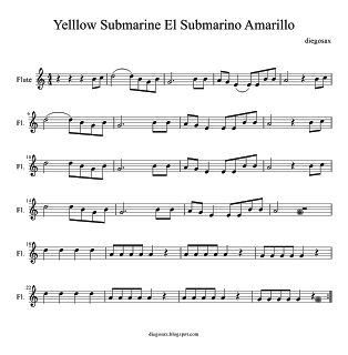 Sheet Music for flute Yellow Submarine Partitura del Submarino Amarillo de The Beatles para flauta, saxofón, violin o cualquier instrumento ...