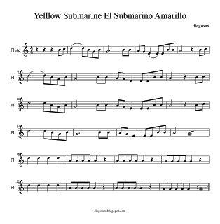 Sheet Music for flute Yellow Submarine Partitura del Submarino Amarillo de The Beatles para flauta, saxofón, violin o cualquier instrumento ...