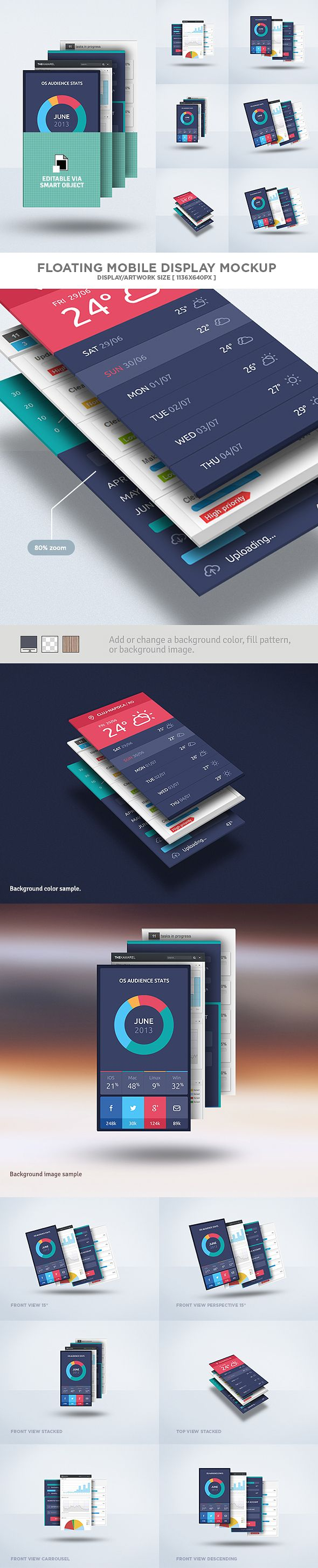 Floating Mobile Display Mock-Up PSD Freebie by Eduardo Mejia, via Behance