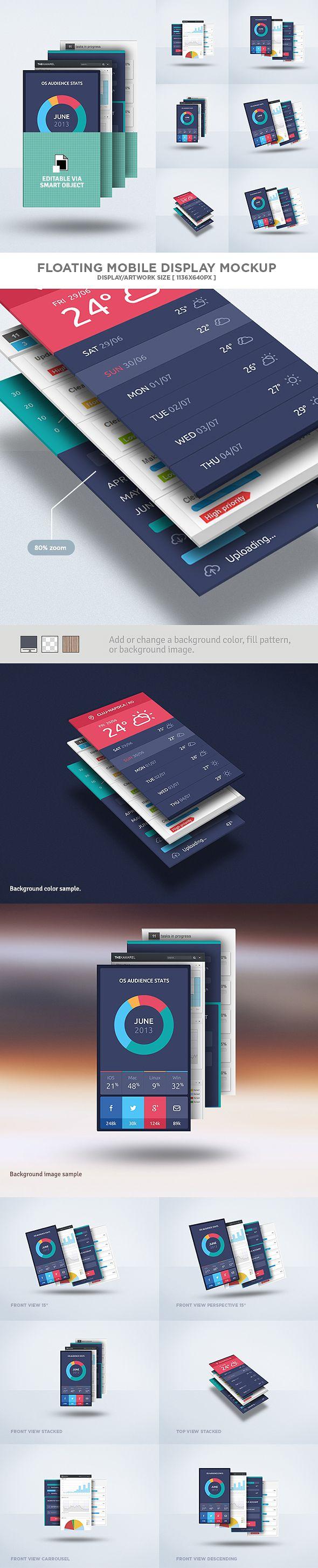 Floating Mobile Display Mock-Up PSD Freebie by Eduardo Mejia, via Behance