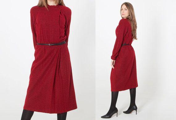 Abito lungo invernale rosso Annie fashion misura 42- 44 IT  vestito caldo inverno 2017 Idea regalo per lei Abito atmosfera Natalizia