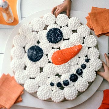 Fill a large cake plate with white-frosted cupcakes and then fill in details of a snowman face with more orange and black frosting. Sprinkle the cupcakes with white cake sparkles for a snow-crystal finish.
