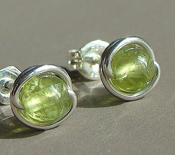Peridot Earrings Tiny Peridot Post Earrings by phoebestreasure