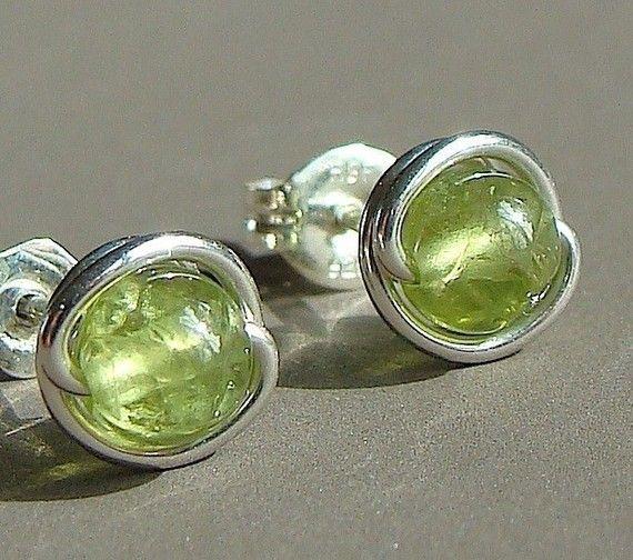Peridot Earrings Tiny Peridot Post Earrings by phoebestreasure