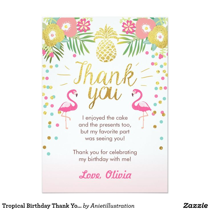 tropical birthday thank you card luau flamingo