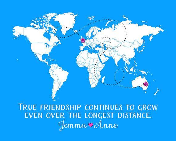 Long Distance Best Friends Map Custom Art Print by WanderingFables