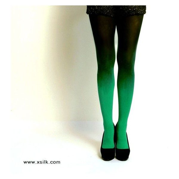 Ombre tights Emerald Green hand dyed opaque tights. ❤ liked on Polyvore featuring intimates, hosiery, tights, ombre tights, gradient tights, opaque stockings, opaque hosiery and opaque tights