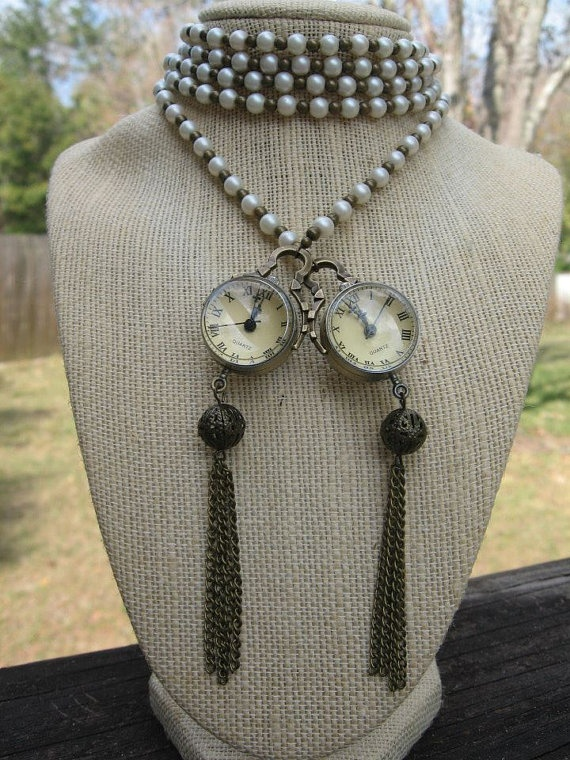 Pearl & Antique Brass Clock Rope Necklace by JBaubles on Etsy, $45.00