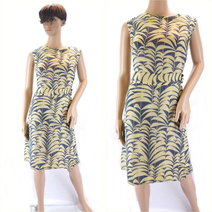 Vintage 1960s Yellow & Navy Blue Print Shift Dress Mad Men Wiggle - Size 14/16UK