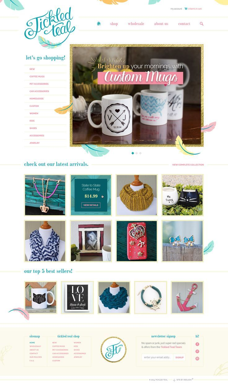 Tickled Teal illustrated homepage. Gift shop Shopify ecommerce web design by Aeolidia.
