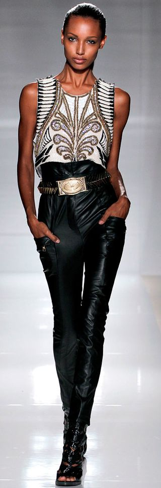 Balmain Spring 2012 Ready to wear. black leather pants, black heels, black and white shirt with gold details, black and white fashion