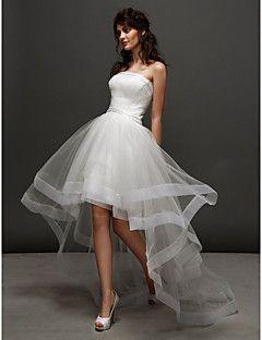 lanting bride® ballkleid extraklein / Übergrößen hochzeitskleid schlichte brautkleider asymm