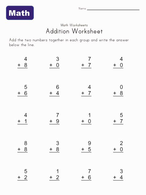 simple addition worksheets you can print for at home practice math pinterest home math. Black Bedroom Furniture Sets. Home Design Ideas