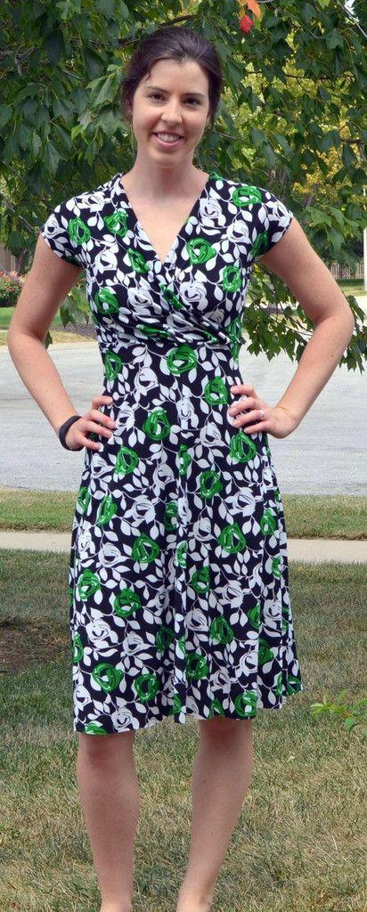 Jersey wrap dress PDF sewing pattern floral green