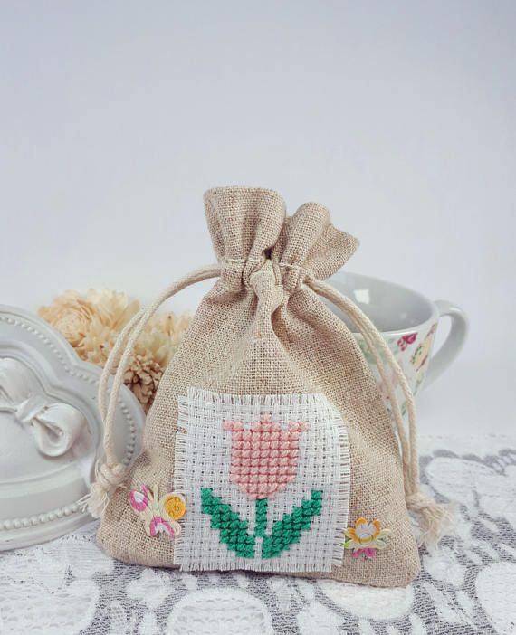 Tulip cross stitch jewelry pouch textile gift bag fabric pouch by Rocreanique on Etsy