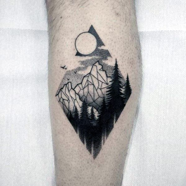 Leg Calf Mountains Nature Artistic Male Small Geometric Tattoo Ideas